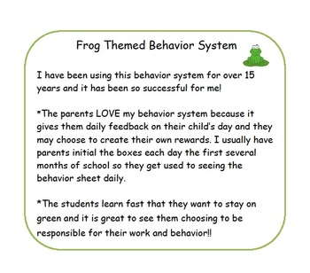 Behavior system with frog theme