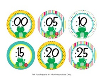 Frog Theme Clock Number Labels