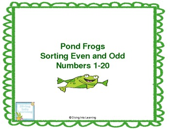 Frog Theme Math Game- Sorting Even and Odd Numbers 1-20