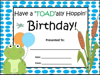 Frog Themed Birthday Certificates in 9 Different Colors! (