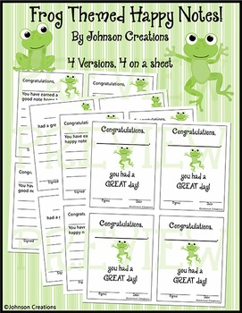 Frog Themed Happy Notes