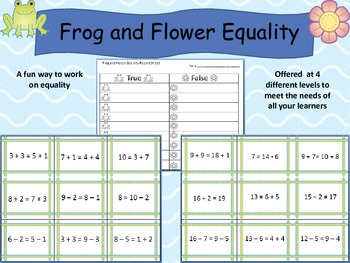 Frog and Flower Equality Addition and Subtraction Facts Ea