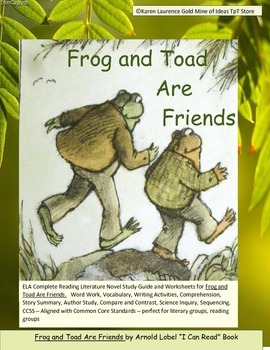 Frog and Toad Are Friends ELA Reading Novel Study Guide Pr