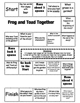 """""""Frog and Toad Together"""" Comprehension Game Board"""