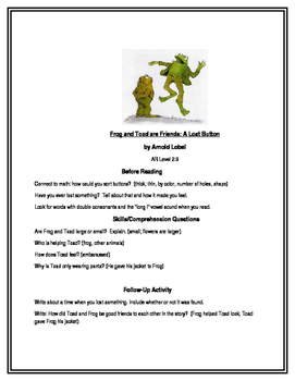 Frog and Toad are Friends (A Lost Button) for Guided Reading