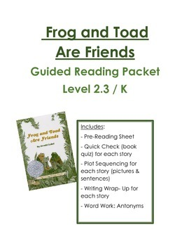 Frog and Toad are Friends: Guided Reading Packet