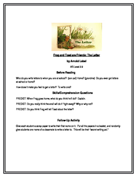 Frog and Toad are Friends (The Letter) for Guided Reading