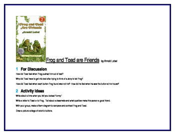 Frog and Toad are Friends for Guided Reading