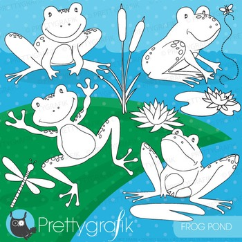 Frog pond stamps commercial use, vector graphics, images - DS688