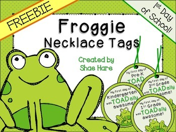 Froggie Themed Necklace Tags {Frog Pond} 1st Day Back to School