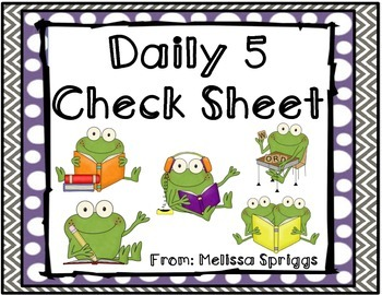 Froggy Daily Five Check Sheet