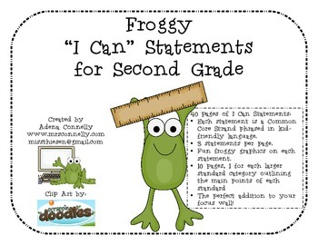 """Froggy """"I Can"""" Statements for Second Grade"""