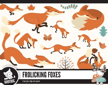 Frolicking foxes clipart pack