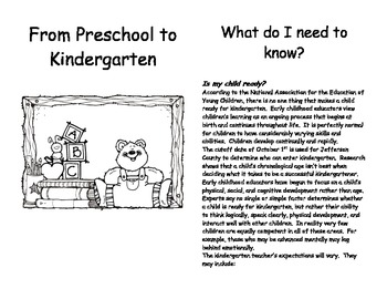 From Preschool to Kindergarten