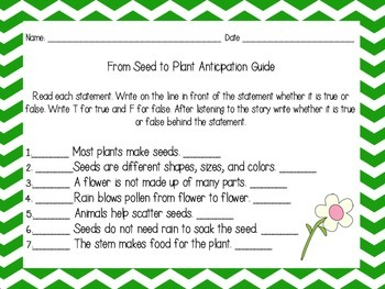 From Seed to Plant Anticipation Guide