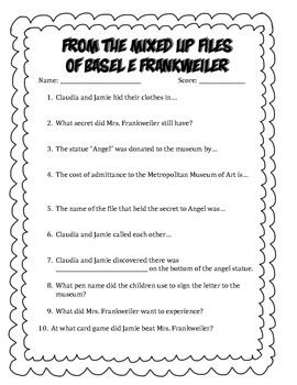 From the Mixed-Up Files of Mrs. Basel E. Frankweiler Questions