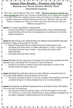 Frontier Life Unit - Annotated Lesson Plan Bundle - Differ