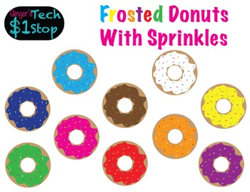 Frosted Donuts with Sprinkles!  Food Clipart!  Sweets!
