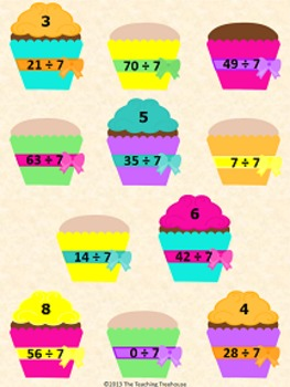 Frosting Cupcakes Dividing by 7 File Folder Game ~ Divisio