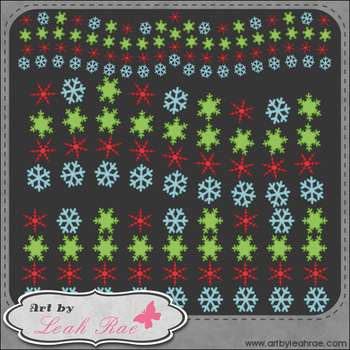 Frosty & Friends Snowflake Borders 1 - Art by Leah Rae Cli