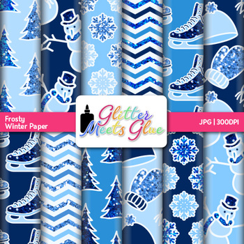 Frosty Winter Paper {Scrapbook Backgrounds for Task Cards