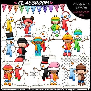 Frosty and Friends Clip Art - Kids / Snowman Clip Art