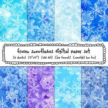 Frozen Digital Paper, Snowflakes Blue and Purple Digital B