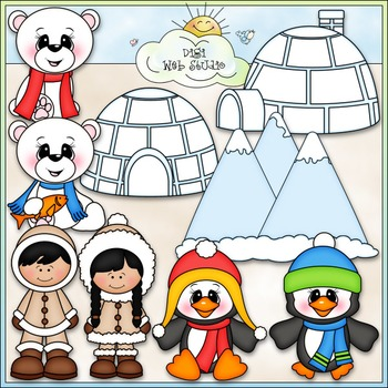 Frozen Friends Clip Art - Eskimo ClipArt - Penguin, Polar