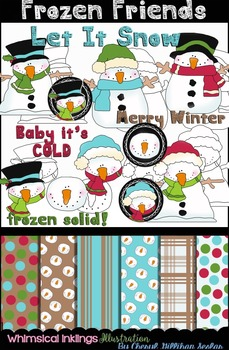 Frozen Friends Clipart And Digital paper Collection~ Snowm
