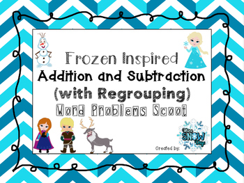 Frozen Inspired Addition and Subtraction (with Regrouping) Scoot