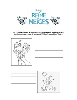 """Frozen"" (Reine des Neiges) character description sheet"