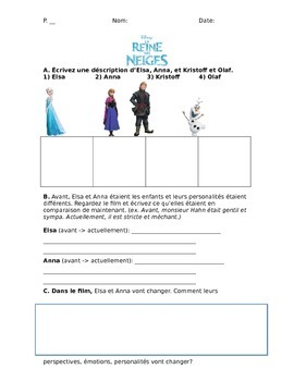 Frozen movie worksheet in French