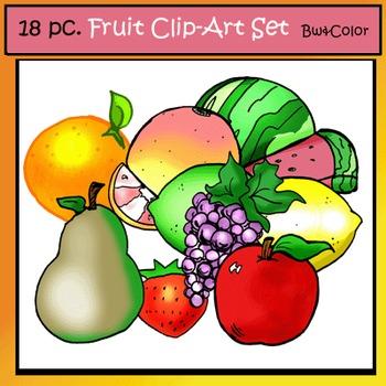 Fruit Clip-Art Set: 9 B&W, 9 Color