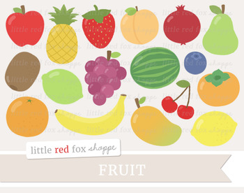 Fruit Clipart; Apple, Pear, Strawberry