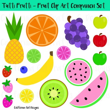 Fruit Clipart Set - Watermelons, Apples, Banana, Pineapple