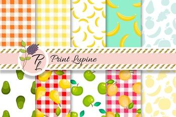 Fruit Seamless Digital Paper. Avocado, apple, apricot, ban