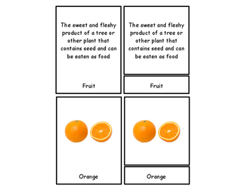 Fruit & Vegetable Three Part Cards