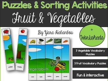 Fruit & Vegetables Vocabulary Building Interactive Puzzles
