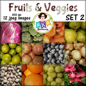 Fruit & Veggies Background Papers Set 2 -{Graphics for Com