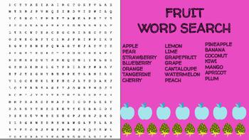 Fruit Word Search; FACS, Culinary Arts, Bellringer, Health