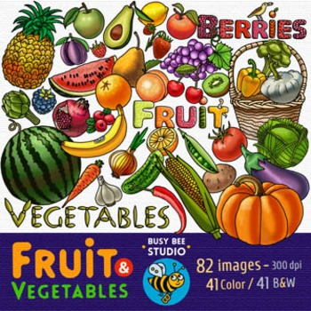 Fruit and Vegetable Clip Art Bundle