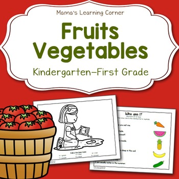 Fruit and Vegetable Worksheets for Kindergarten and First Grade