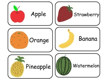 Fruit and Vegetable printable Picture Word Flash Cards. Pr