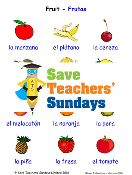 Fruit in Spanish Worksheets, Games, Activities and Flash C