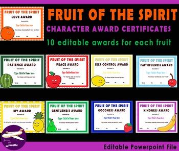 Fruit of The Spirit Character Award Certificates - 90 Edit