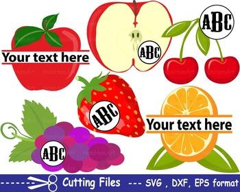 Fruits Apple lemon orange EPS SVG DXF school teachers cutt