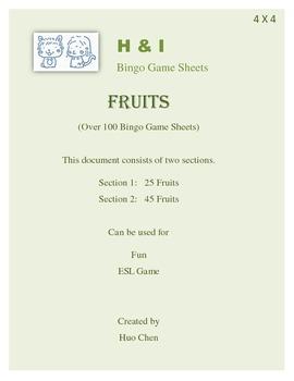 Fruits Bingo Game (H&I Bingo Game Sheets) - 4 X 4