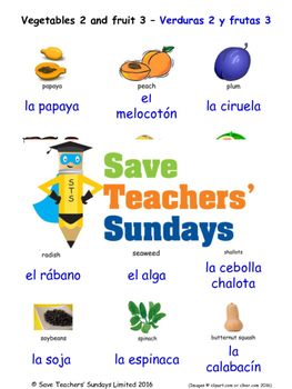 Fruits & Vegetables in Spanish Worksheets, Games, Activiti