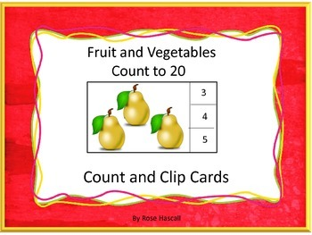 Task Cards Count and Clip Cards Counting Fruit and Vegetab