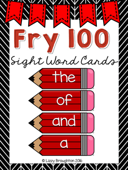 Fry 100 Word Wall Sight Word Cards- Red